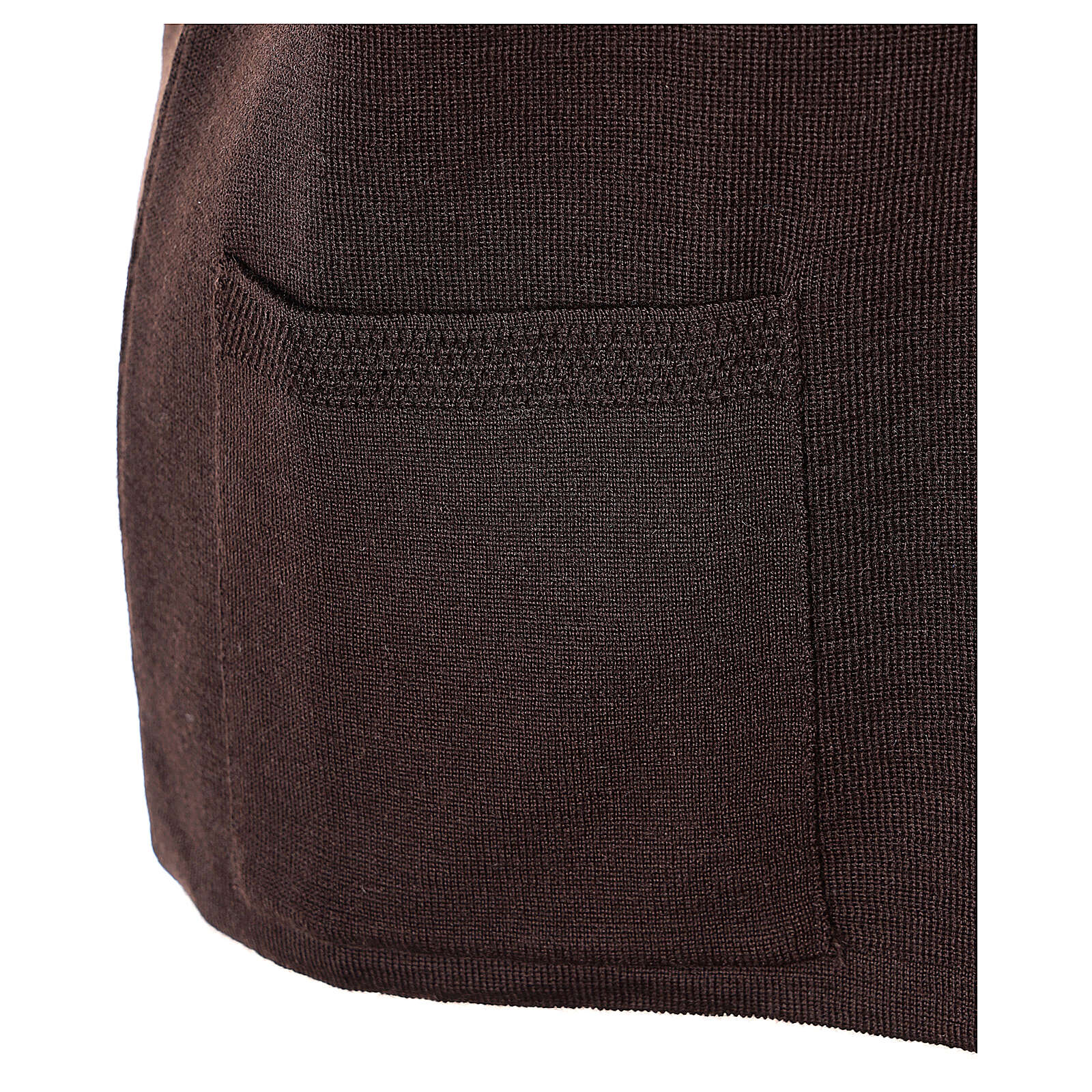 Damen-Weste, braun, mit Taschen und V-Ausschnitt, 50% Acryl - 50% Merinowolle, In Primis 4