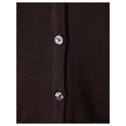 Chaleco monja marrón con bolsillos cuello V 50% acrílico 50% lana merina In Primis 4