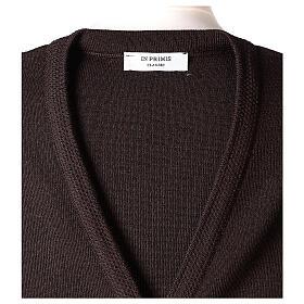 Gilet marron pour soeur avec poches col en V 50% acrylique 50% laine mérinos In Primis s7
