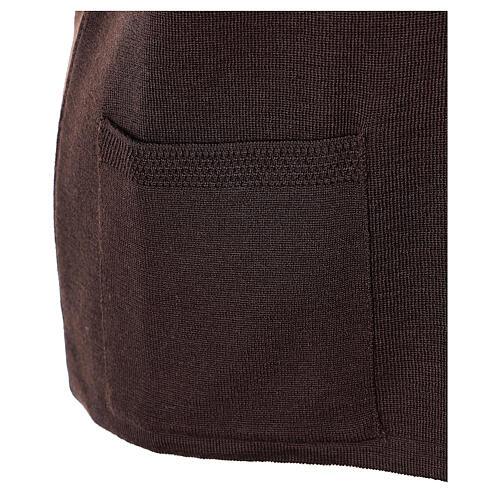 Gilet marron pour soeur avec poches col en V 50% acrylique 50% laine mérinos In Primis 5