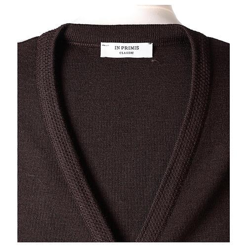 Gilet marron pour soeur avec poches col en V 50% acrylique 50% laine mérinos In Primis 7