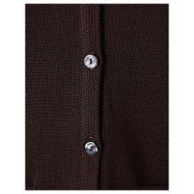 Gilet suora marrone con tasche collo a V 50% acrilico 50% lana merino In Primis s4
