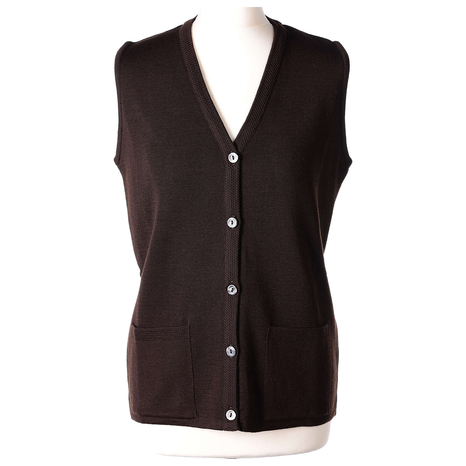 Brown V-neck sleeveless nun cardigan with pockets 50% acrylic 50% merino wool In Primis 4
