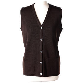 Brown V-neck sleeveless nun cardigan with pockets 50% acrylic 50% merino wool In Primis s1