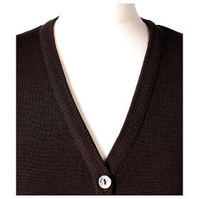Brown V-neck sleeveless nun cardigan with pockets 50% acrylic 50% merino wool In Primis s2