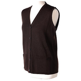 Brown V-neck sleeveless nun cardigan with pockets 50% acrylic 50% merino wool In Primis s3