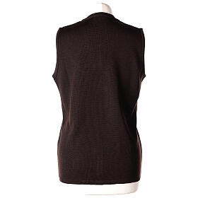 Brown V-neck sleeveless nun cardigan with pockets 50% acrylic 50% merino wool In Primis s6
