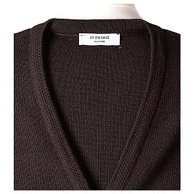 Brown V-neck sleeveless nun cardigan with pockets 50% acrylic 50% merino wool In Primis s7