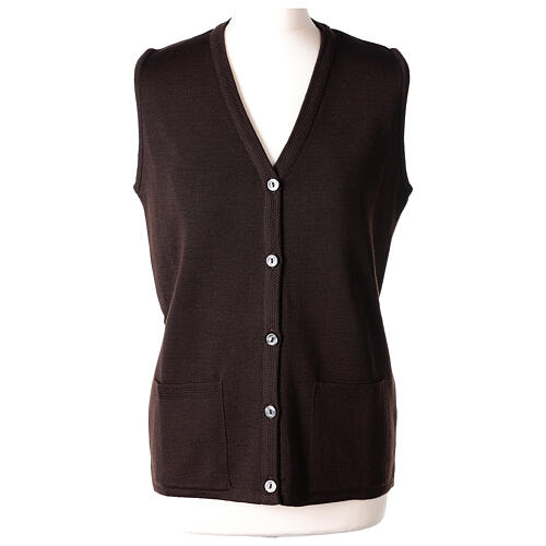 Brown V-neck sleeveless nun cardigan with pockets 50% acrylic 50% merino wool In Primis 1
