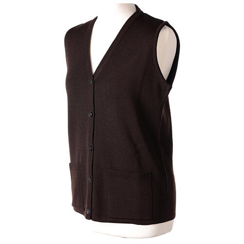 Brown V-neck sleeveless nun cardigan with pockets 50% acrylic 50% merino wool In Primis 3