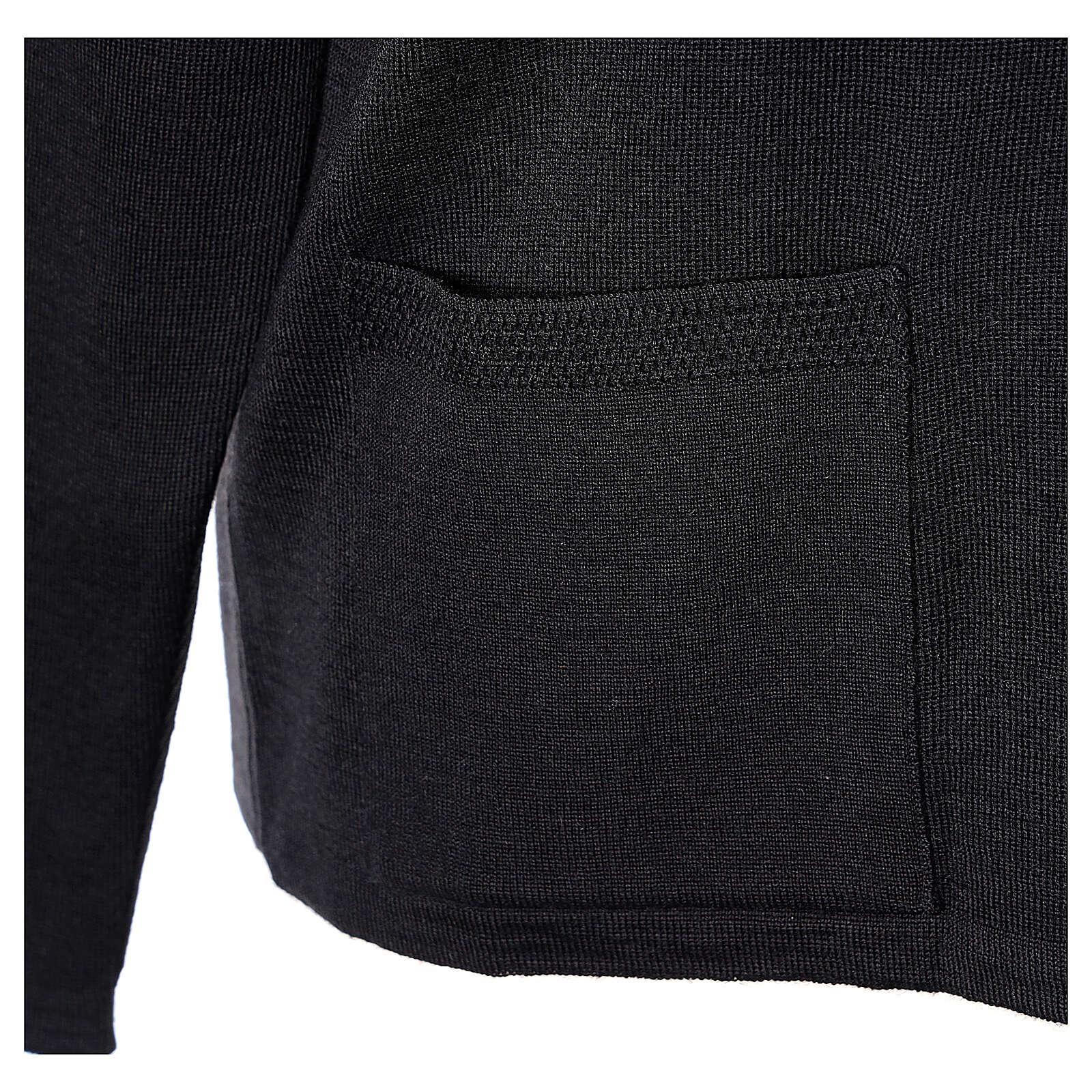 Damen-Cardigan, schwarz, mit Taschen und V-Ausschnitt, 50% Acryl - 50% Merinowolle, In Primis 4