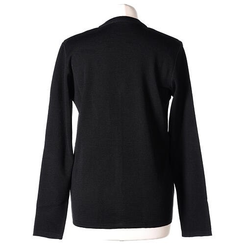 Rebeca monja negra cuello V bolsillos punto unido 50% acrílico 50% lana merina In Primis 6