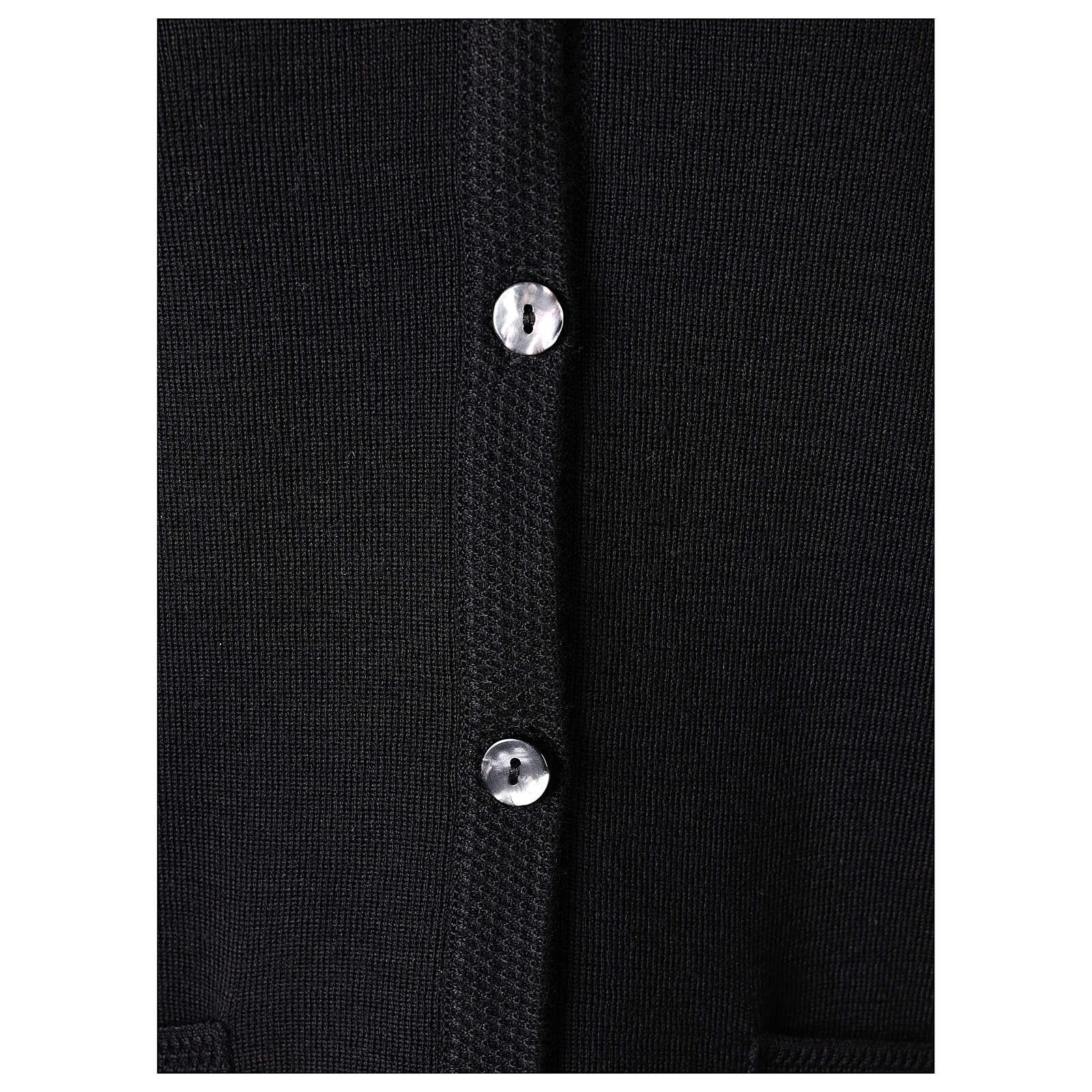 Cardigan soeur noir col en V poches jersey 50% acrylique 50 laine mérinos In Primis 4
