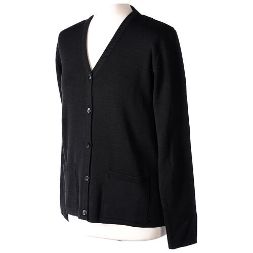 Cardigan soeur noir col en V poches jersey 50% acrylique 50 laine mérinos In Primis 3