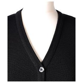 Cardigan suora nero collo V tasche maglia unita 50% acrilico 50% lana merino In Primis s2