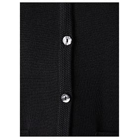 Cardigan suora nero collo V tasche maglia unita 50% acrilico 50% lana merino In Primis s4