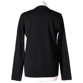 Cardigan suora nero collo V tasche maglia unita 50% acrilico 50% lana merino In Primis s6