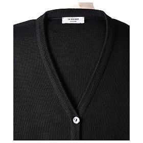 Cardigan suora nero collo V tasche maglia unita 50% acrilico 50% lana merino In Primis s7