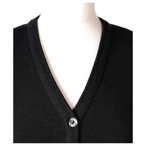 Cardigan suora nero collo V tasche maglia unita 50% acrilico 50% lana merino In Primis 2