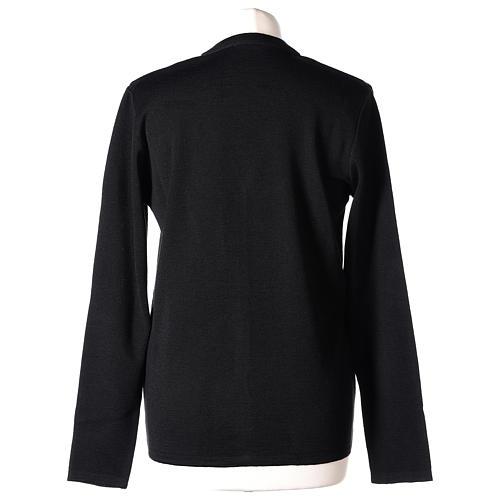 Cardigan suora nero collo V tasche maglia unita 50% acrilico 50% lana merino In Primis 6