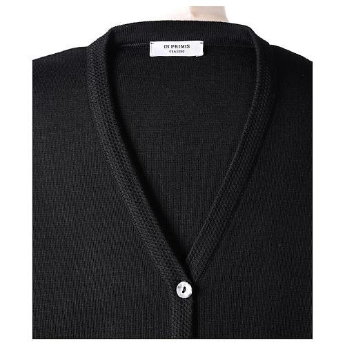 Cardigan suora nero collo V tasche maglia unita 50% acrilico 50% lana merino In Primis 7