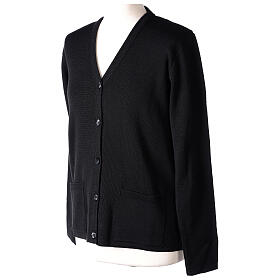 Kardigan sweter siostry zakonnej czarny dekolt serek kieszonki dzianina gładka 50% akryl 50% wełna merynos In Primis s3
