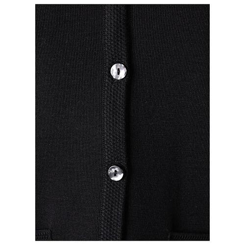 Kardigan sweter siostry zakonnej czarny dekolt serek kieszonki dzianina gładka 50% akryl 50% wełna merynos In Primis 4
