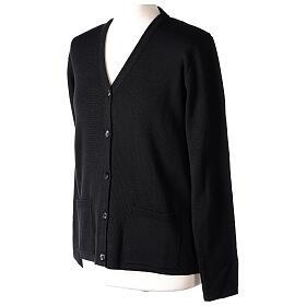 Black V-neck nun cardigan with pockets 50% acrylic 50% merino wool In Primis s3