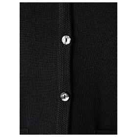 Black V-neck nun cardigan with pockets 50% acrylic 50% merino wool In Primis s4