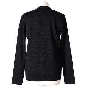 Black V-neck nun cardigan with pockets 50% acrylic 50% merino wool In Primis s6