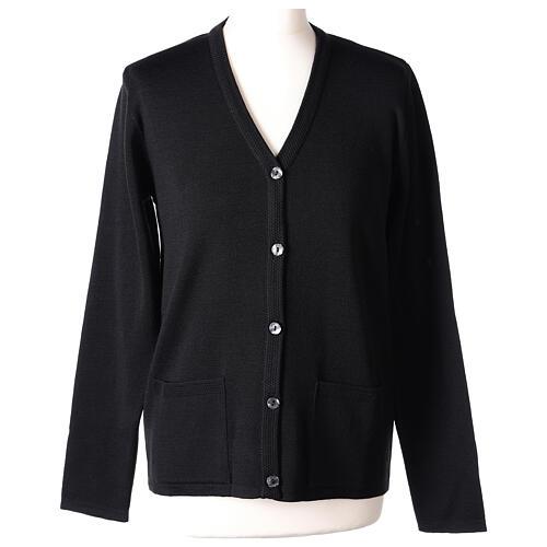 Black V-neck nun cardigan with pockets 50% acrylic 50% merino wool In Primis 1