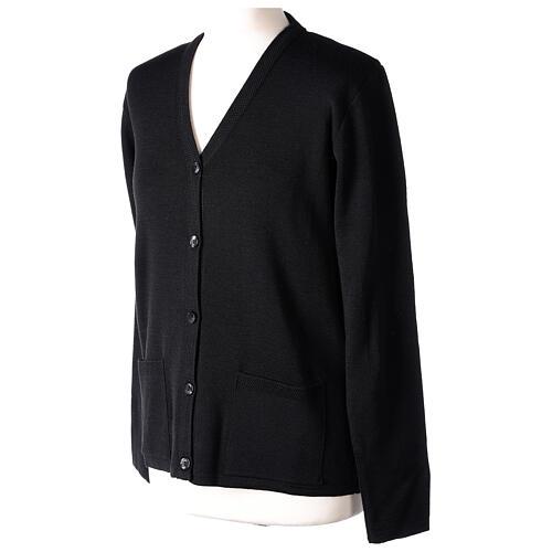 Black V-neck nun cardigan with pockets 50% acrylic 50% merino wool In Primis 3