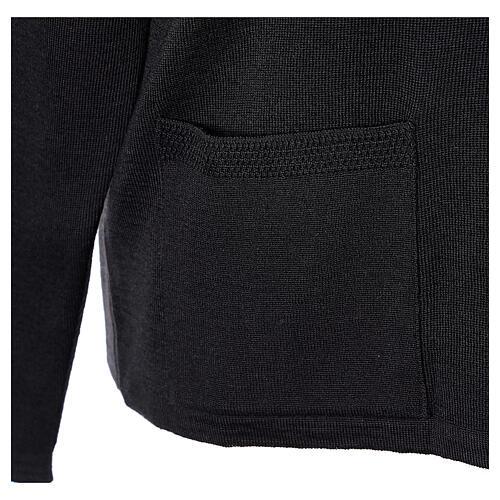 Black V-neck nun cardigan with pockets 50% acrylic 50% merino wool In Primis 5