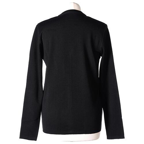 Black V-neck nun cardigan with pockets 50% acrylic 50% merino wool In Primis 6
