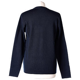 Rebeca azul monja cuello V bolsillos punto unido 50% acrílico 50% lana merina In Primis s6