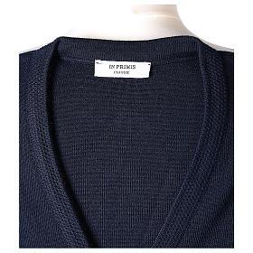 Rebeca azul monja cuello V bolsillos punto unido 50% acrílico 50% lana merina In Primis s7