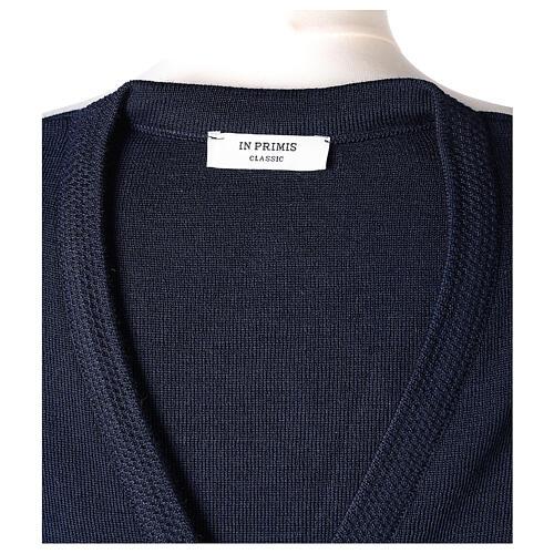 Rebeca azul monja cuello V bolsillos punto unido 50% acrílico 50% lana merina In Primis 7