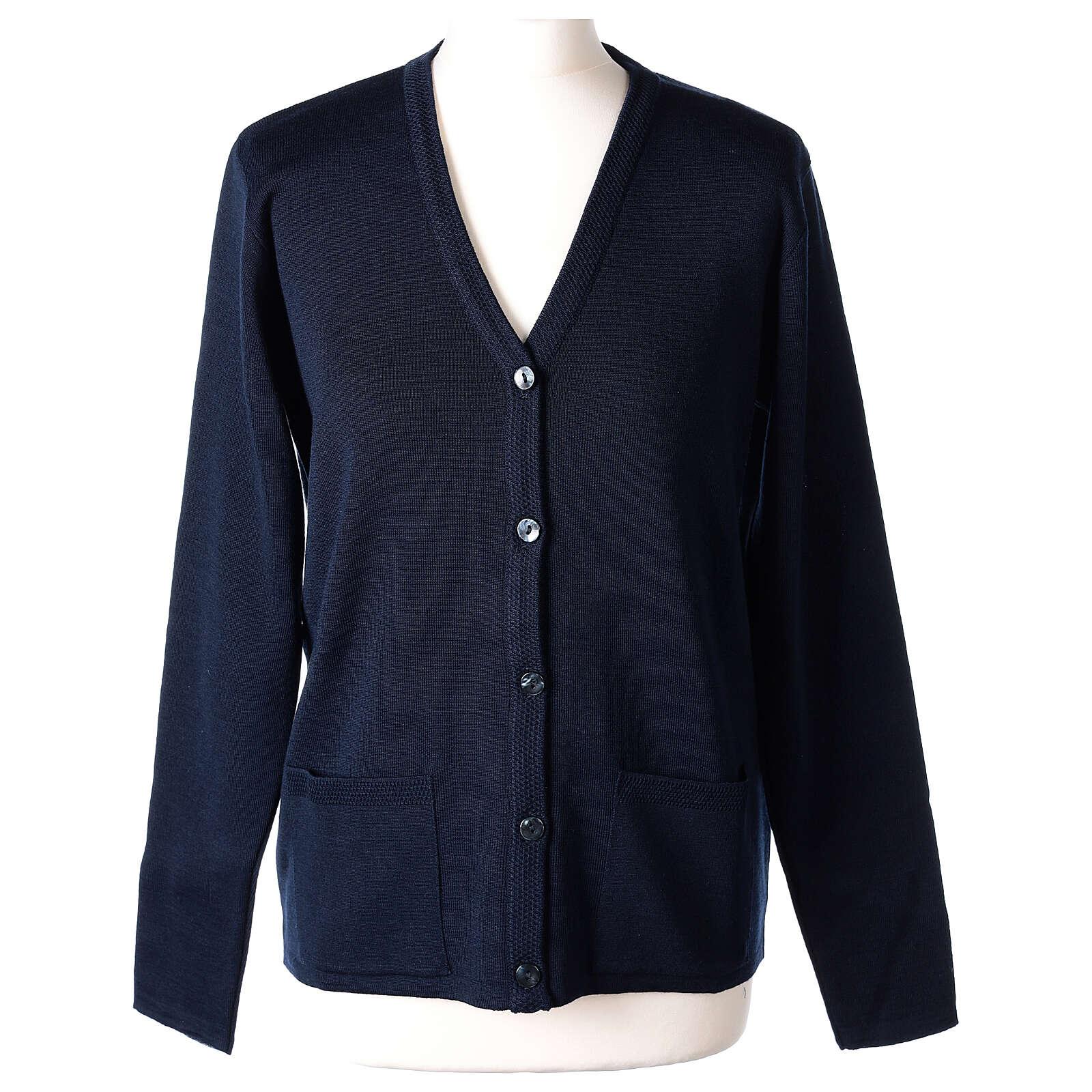 Cardigan soeur bleu col en V poches jersey 50% acrylique 50 laine mérinos In Primis 4