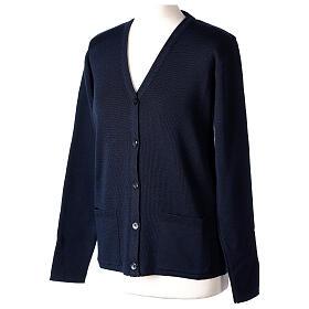 Cardigan soeur bleu col en V poches jersey 50% acrylique 50 laine mérinos In Primis s3