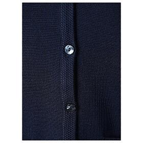 Cardigan soeur bleu col en V poches jersey 50% acrylique 50 laine mérinos In Primis s4