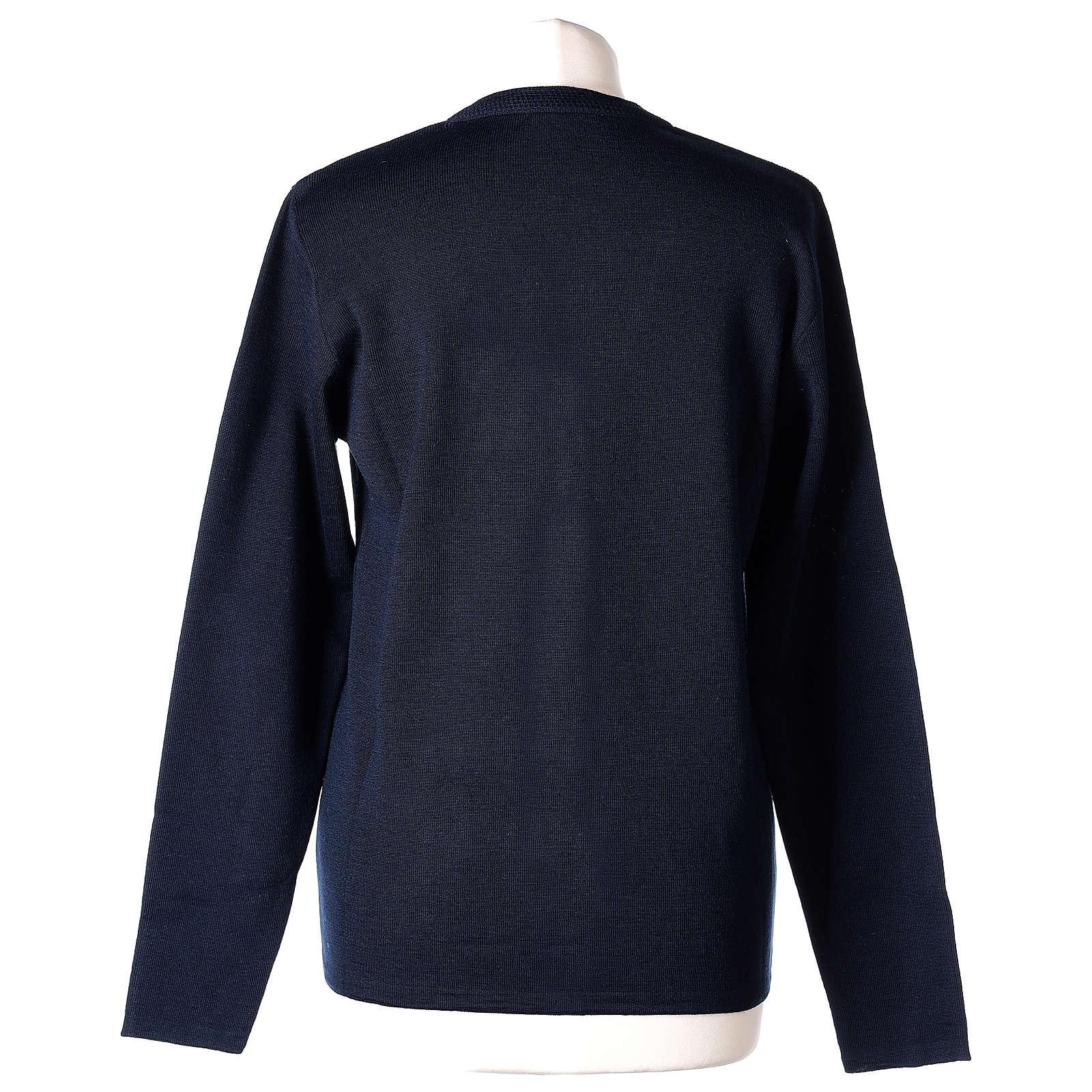 Cardigan blu suora collo V tasche maglia unita 50% acrilico 50% lana merino In Primis 4