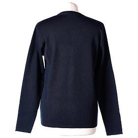 Cardigan blu suora collo V tasche maglia unita 50% acrilico 50% lana merino In Primis s6