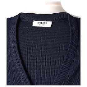 Cardigan blu suora collo V tasche maglia unita 50% acrilico 50% lana merino In Primis s7