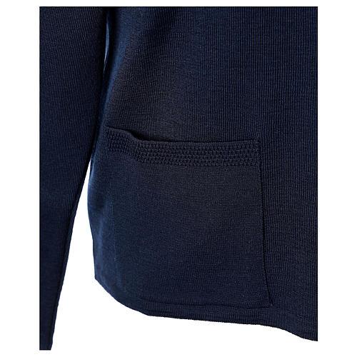 Cardigan blu suora collo V tasche maglia unita 50% acrilico 50% lana merino In Primis 5