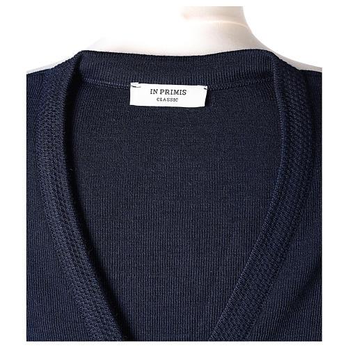 Cardigan blu suora collo V tasche maglia unita 50% acrilico 50% lana merino In Primis 7