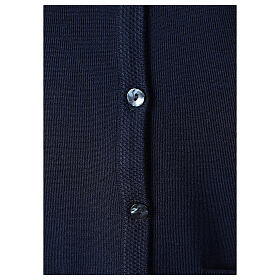 Blue V-neck nun cardigan with pockets 50% acrylic 50% merino wool In Primis s4