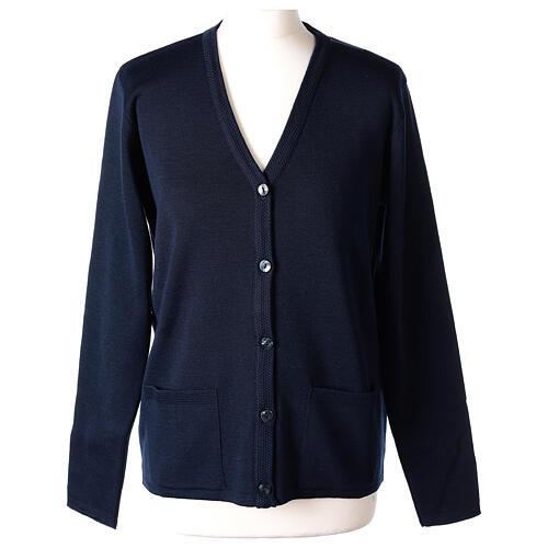 Blue V-neck nun cardigan with pockets 50% acrylic 50% merino wool In Primis 1