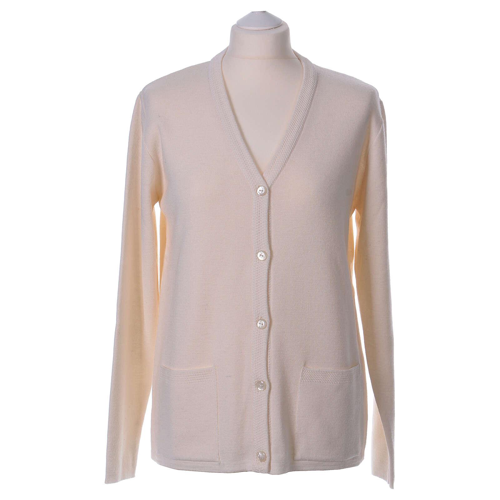 Rebeca monja blanco cuello V bolsillos punto unido 50% acrílico 50% lana merina In Primis 4
