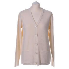 Rebeca monja blanco cuello V bolsillos punto unido 50% acrílico 50% lana merina In Primis s1
