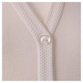 Rebeca monja blanco cuello V bolsillos punto unido 50% acrílico 50% lana merina In Primis s2